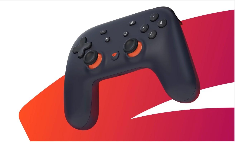 Stadia controller con sfondo logo