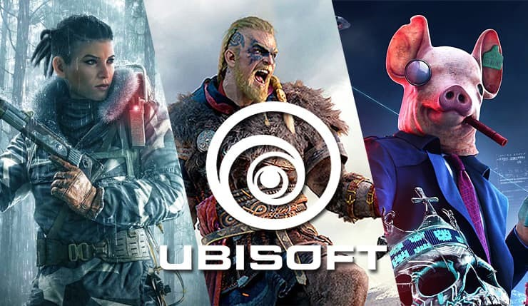 Ubisoft logo con assassin's creed valhalla, watch dogs legione quarantene