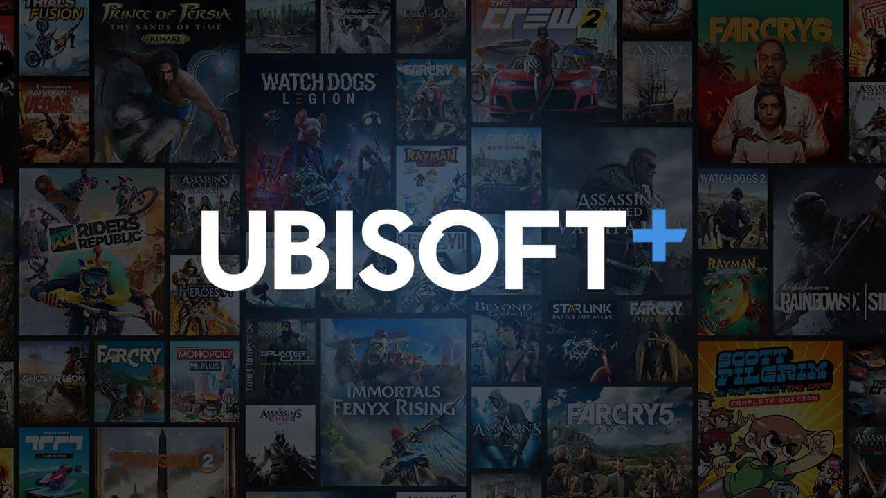 Ubisoft+ nuovo logo con sfondo giochi