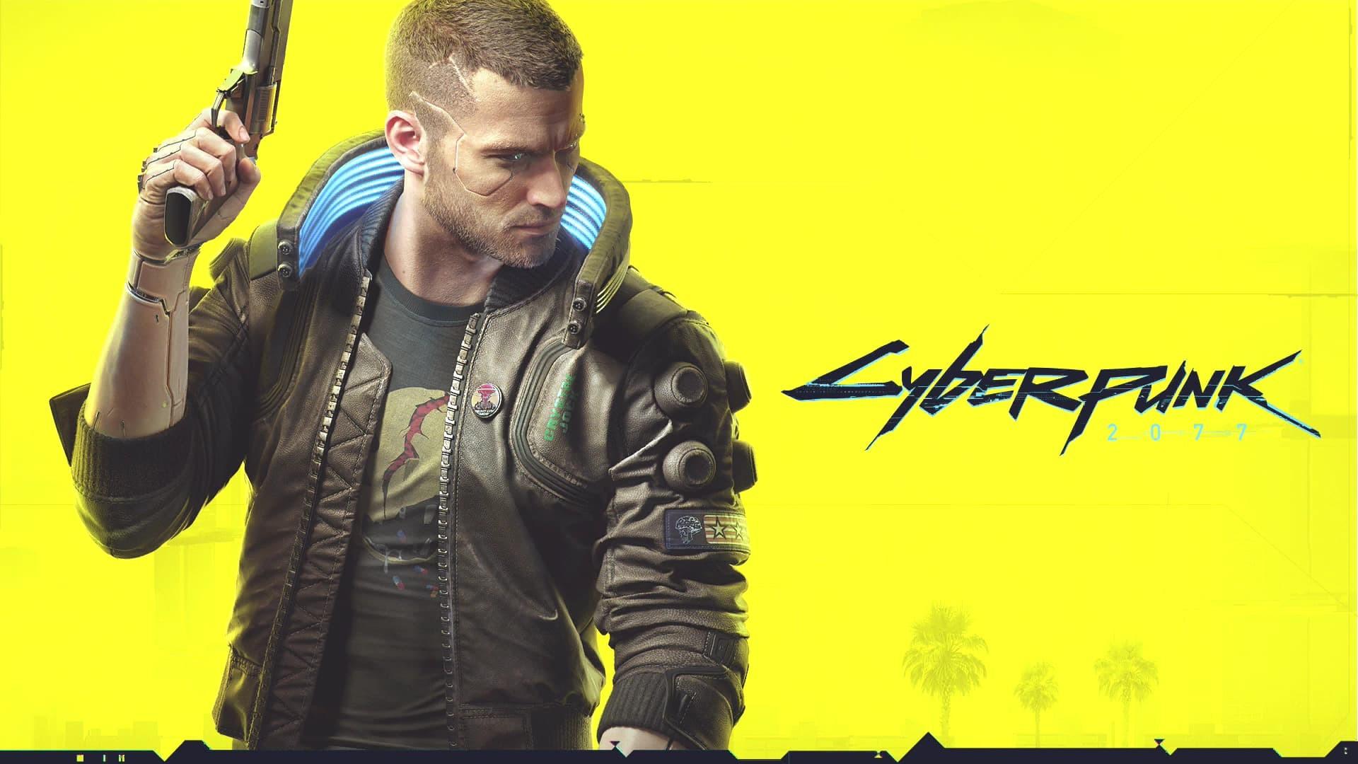 Cyberpunk 2077 poster giallo titolo maschio