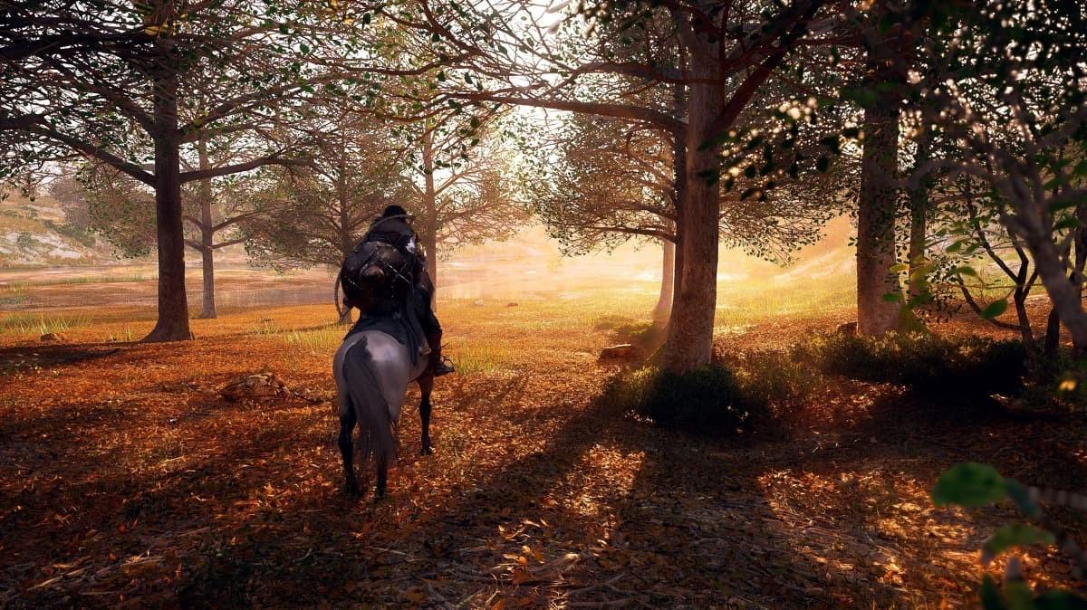 Crimson Desert screenshot foresta autunno a cavallo