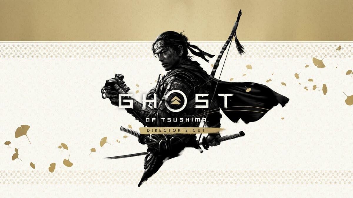 Ghost of Tsushima Director's Cut immagine dorata copertina con logo